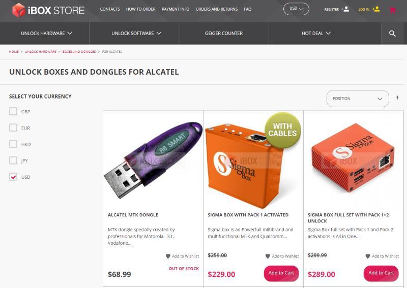 Новинка UNLOCK BOXES и DONGLES для телефонов ALCATEL